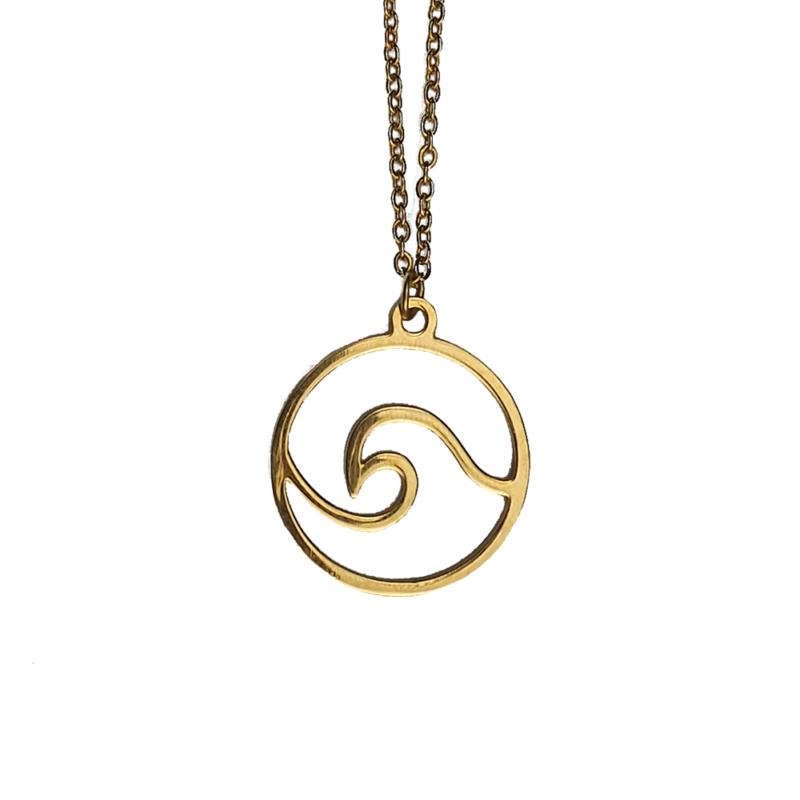přívěsek náhrdelník vlna zlatá