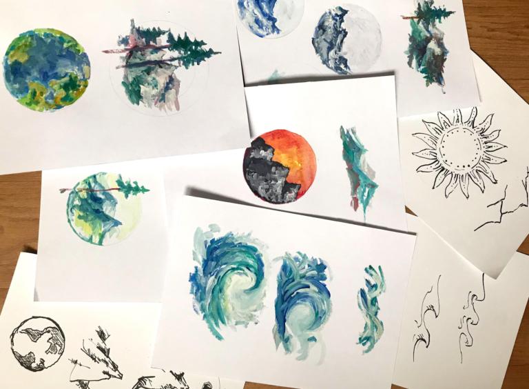 návrhy skici malování designu
