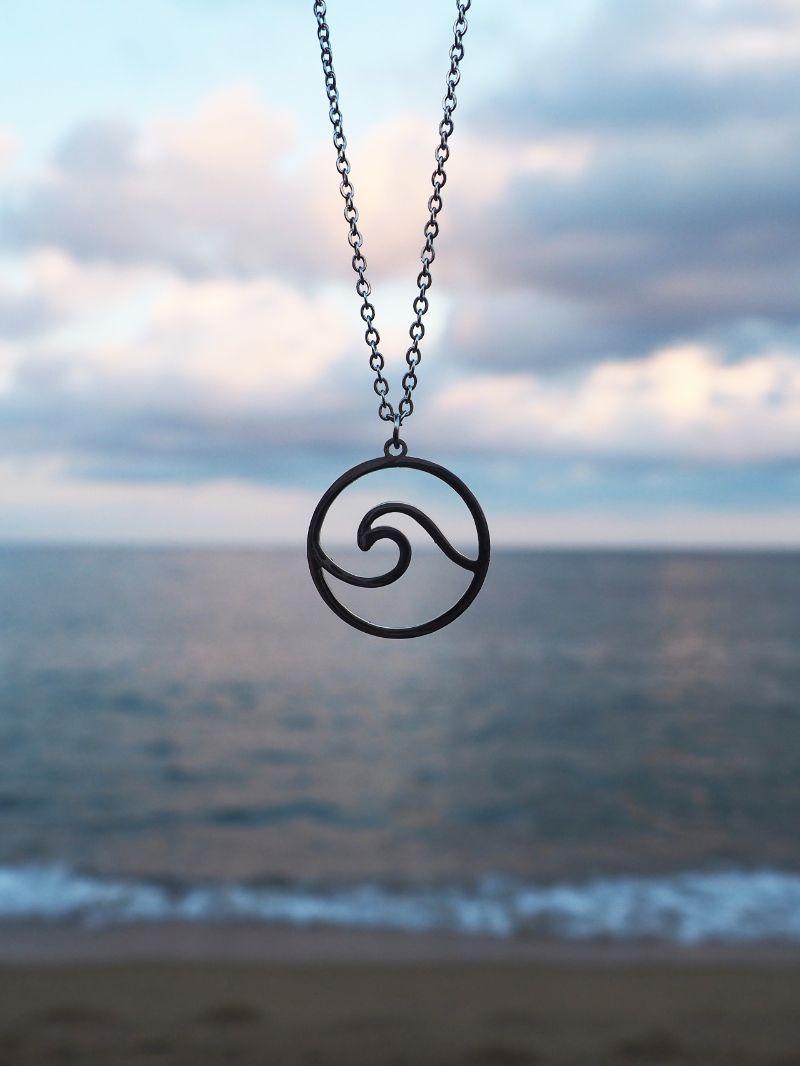 přívěsek náhrdelník vlna stříbrný